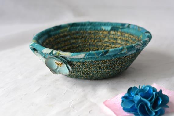 Teal Paperclip Basket, Handmade Candy Dish, Handmade Artisan Key Basket, Ring Holder Bowl, Teal Desk Accessory, Pretty Gold Highlights