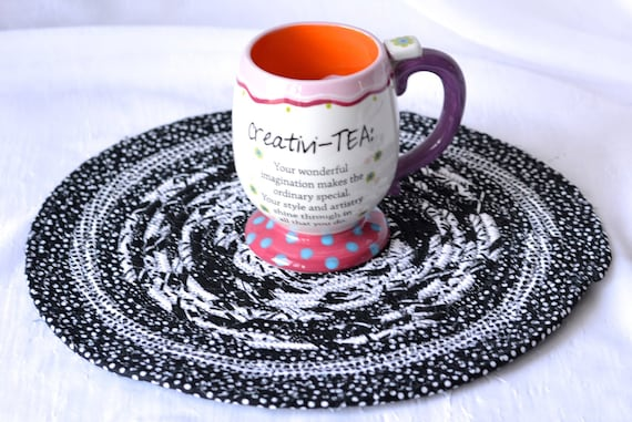 """Spring Decor Trivet, 12"""" Handmade Coiled Rope Trivet, Black and White Place Mat, Lovely Black Artisan Table Mat, Quilted Hot Pad"""