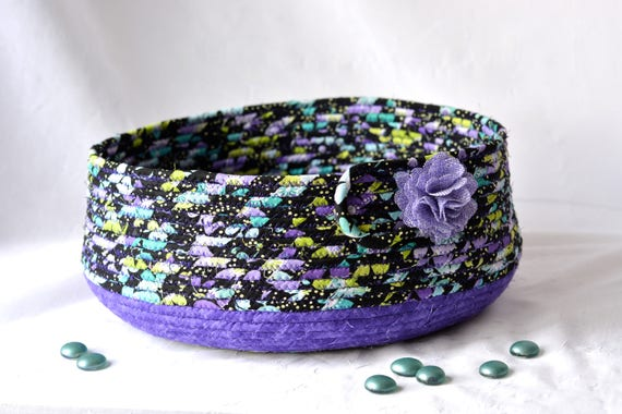 Black Cat Bed, Hand Coiled Pet Bed, Purple Fabric Basket, Modern Cat Bed, Dog Bed, Handmade Ultra Violet Fabric Bowl