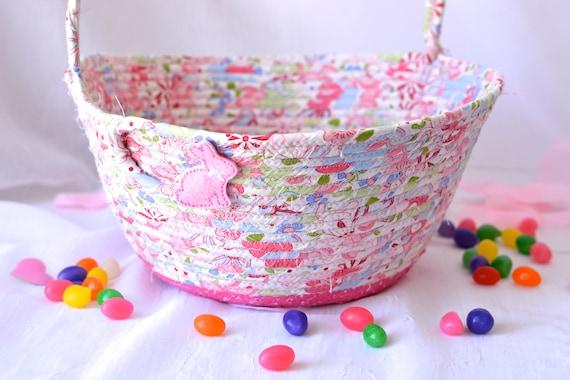 Easter Basket, Pink Flower Girl Basket, Handmade Wedding Basket, Baby Girl Home Decor, Diaper Holder, Lotion Bin, Easter Bucket
