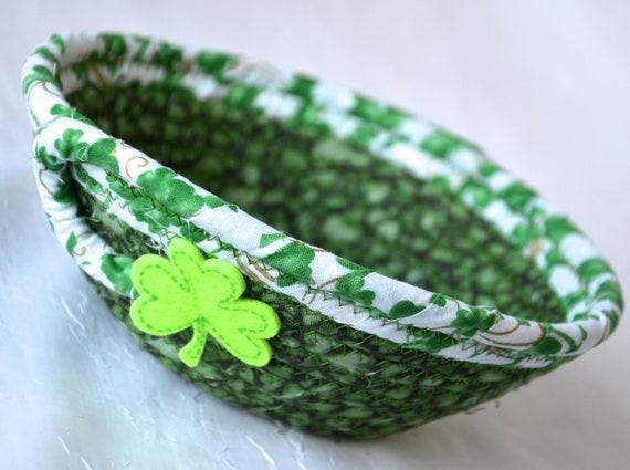 St. Patrick's Day Decor Bowl, Irish Shamrock Dish, Handmade Rope Basket, Green Shamrock Decor Basket, Candy Dish, Desk Accessory