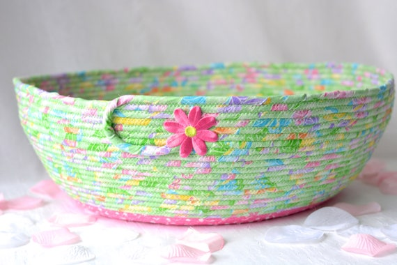 Toy Storage Organizer, Handmade Pretty Mint Green Fabric Basket, Rope Coiled, Textile Art Basket, Cat Bed, Dog Bed Basket