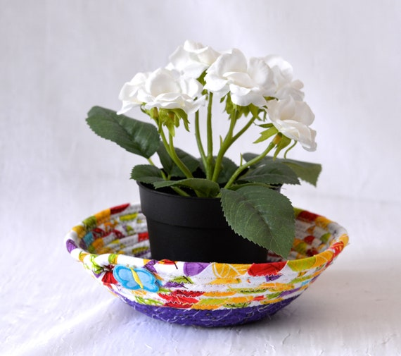 Bling Ring Dish, Quilted Rope Basket, Handmade Purple Bowl, Candy Dish, Planter Plant Holder, Cute Desk Accessory Bowl L1