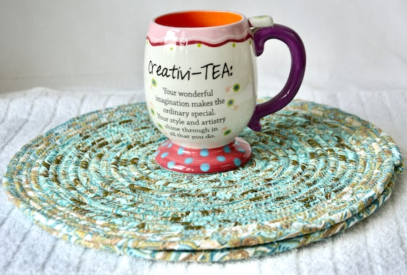 Turquoise Table Mats, 2 Aqua Place Mats, Handmade Potholders, Hot Pads, Dining Table Trivets, Kitchen Home Decor, Table Topper Runner