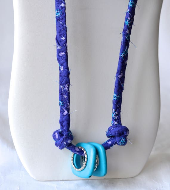 Purple Rope Necklace, Spring Infinity Necklace, Handmade Wrap Fiber Jewelry, Purple and Turquoise Skinny Multi Strand Necklace