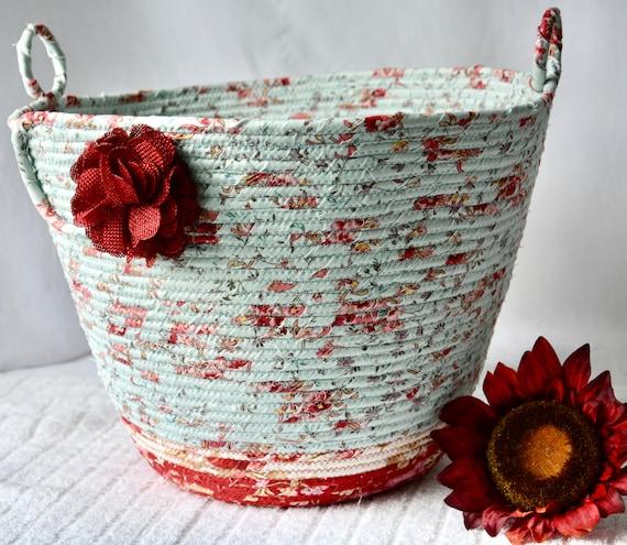 Waste Paper Basket, Handmade Blue Floral Handled Basket, Receptacle Trash Bin, Floral Rec Dust Bin, Plant Holder, Office Decor