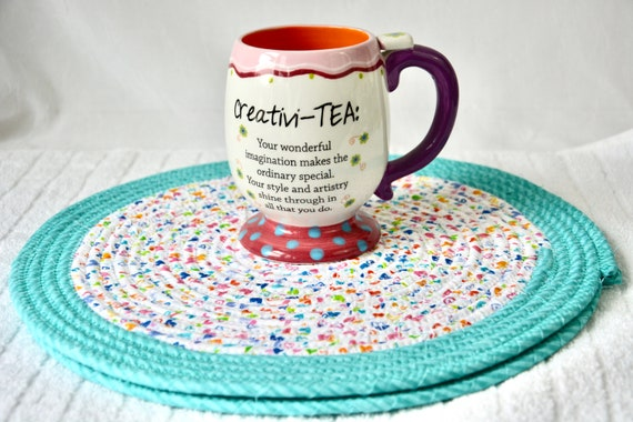 Aqua Place Mats, 2 Spring Trivets, Handmade Hot Pads, Mug Rugs, Child Place Mats, Table Mats, Potholders, Table Toppers, Runners