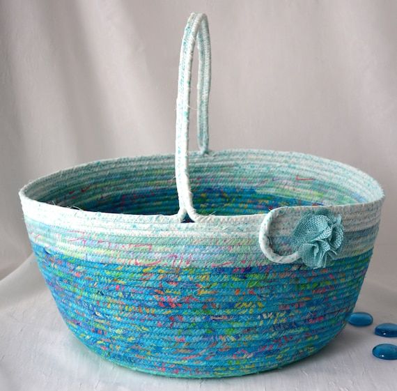 Aqua Blue Decor Basket, Handmade Coiled Rope Basket with handle, Country Chic Fabric Bin, Textile Art Decor Basket,  Craft Project Bag