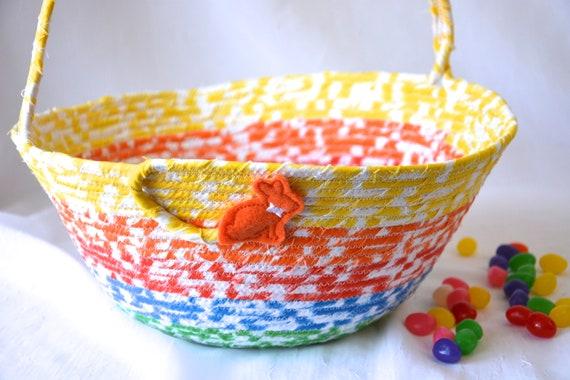 Rainbow Nursery Basket, Handmade Kid's Easter Bucket, Cute Baby Boy Toy Bin,  Quilted Nursery Organizer, Boy Easter Bucket