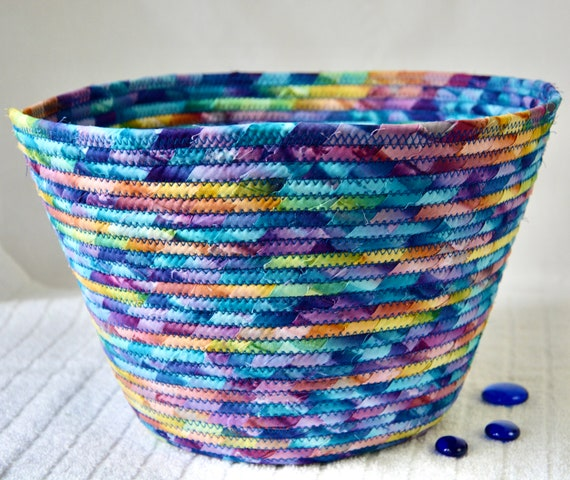 Blue Batik Basket, Handmade Yarn Holder, Beautiful Scarf Basket, Muted Blue Fabric Bowl, Paper Recycle Bin, Waste Basket, Toy Storage