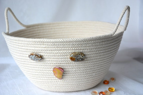 Farmhouse Rope Bowl, Handmade Owl Basket, Rustic Country Owl Clothesline Basket, Primitive Yarn Bowl,  hand coiled natural rope basket