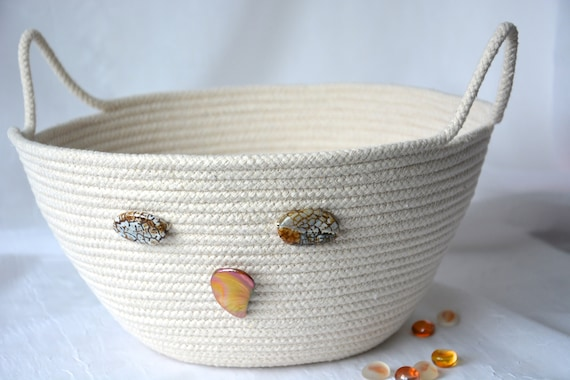Owl Home Decor, Rope Bowl, Handmade Farmhouse Basket, Country Owl Clothesline Basket, Neutral Yarn Bowl,  hand coiled natural rope basket
