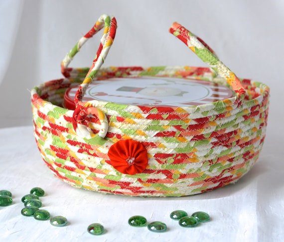 Cookie Caddy, Christmas Dessert Carrier, Quilted Rope Bowl, Homemade Gift Basket, Lovely Fabric Clothesline Bowl, Handmade Coiled Basket