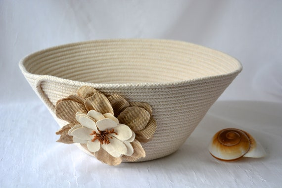 Farmhouse Rope Basket, Handmade Quilted Bowl, Clothesline Basket, Lovely Country Yarn Bowl,  Rustic hand coiled natural rope basket