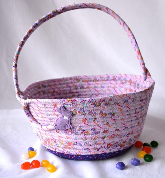 Easter Basket, Handmade Girl Easter Bucket, Pretty Violet Easter Decor, Purple Easter Decoration, Baby First Easter Egg Hunt Bag