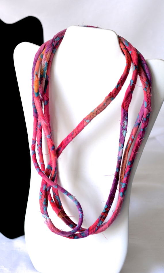 Pink Boho Necklace, Multi Strand Necklace, Infinity Wrap Fabric Jewelry, Handmade Batik Fabric Scarf, Rustic Pink Necklace