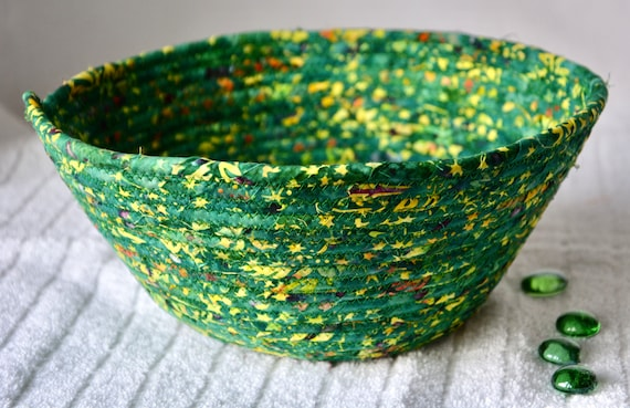 Green Mail Bin, Handmade Bread Basket, Boho Fruit Bowl, Unique Fabric Basket, Batik Fiber Napkin Holder, Remote Control Bin
