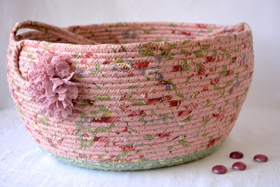 Beautiful Bolga Basket, Storage Container, Handmade Textile Art Basket, Designer Rope Basket with handle, Rose Garden Pink Chic Fabric Bin