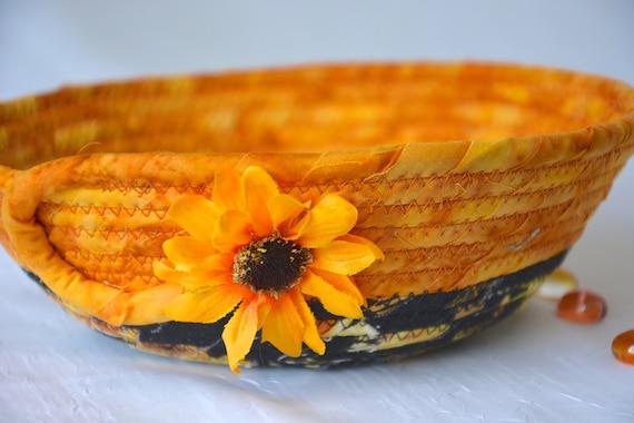 Textile Art Basket, Sunflower Key Bowl, Handmade Earth Tone Basket, Batik Napkin Holder, Bread Basket, Fall Kitchen Decoration