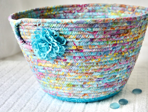 Misty Blue Basket, Handmade Batik Fabric Bowl, Gorgeous Shawl Holder, Yarn Bin, Planter Basket, Remote Control Holder, Pillow Bin