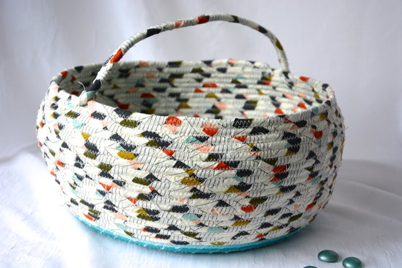 Bolga Basket Turquoise Accent, Handmade Textile Art Basket, Modern Rope Basket with handle, Knitting Project Bag, Farmhouse Chic Fabric Bin