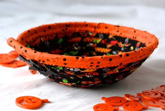 Halloween Candy Bowl, Orange Fabric Basket, Fall Desk Accessory Basket, Change Coin Dish, Potpourri Holder, Stocking Stuffer