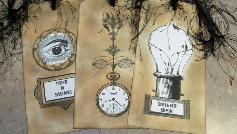 3 Ex-Large Tags Streampunk Tags-Ex-Large Vintage Themed Gift Tags-Travel Tags-Bookmarks-Grunge Tags-Wedding Tags-Hang Tags-Wish Tree Tags