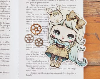 Alice in Wonderland Steampunk Inspired - bookmark - made to order