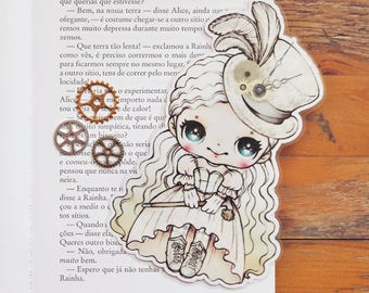 Alice in Wonderland Steampunk inspired - White Queen - bookmark - made to order