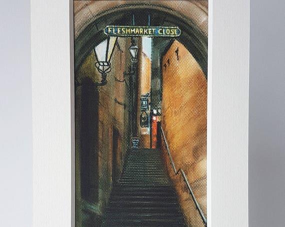 Fleshmarket Close, Edinburgh giclee print by Carolanne Jardine.  Quality print depicting Fleshmarket Close in Edinburgh's old town.