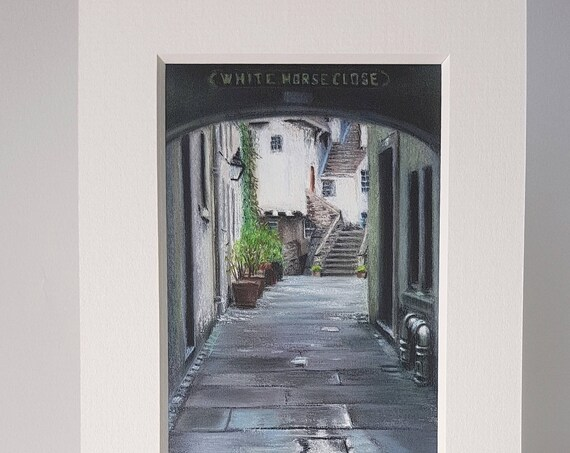 White Horse Close, Edinburgh giclee print by Carolanne Jardine.  Quality print depicting White Horse Close in Edinburgh's old town.