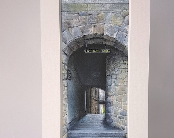 South Gray's Close, Edinburgh giclee print by Carolanne Jardine.  Quality print depicting South Gray's Close in Edinburgh's old town.