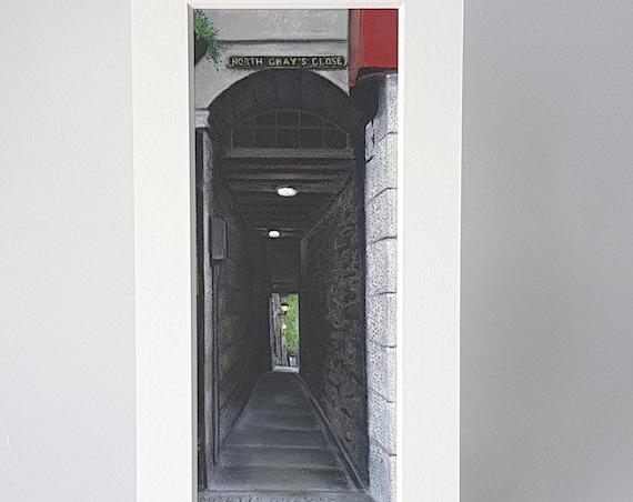 North Gray's Close, Edinburgh giclee print by Carolanne Jardine.  Quality print depicting North Gray's Close in Edinburgh's old town.