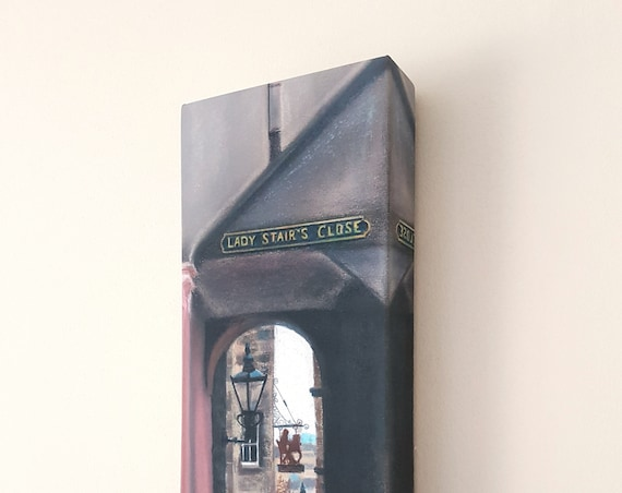 Lady Stair's Close ready to hang box canvas print by Carolanne Jardine.  Quality print depicting Lady Stair's Close in Edinburgh's old town.