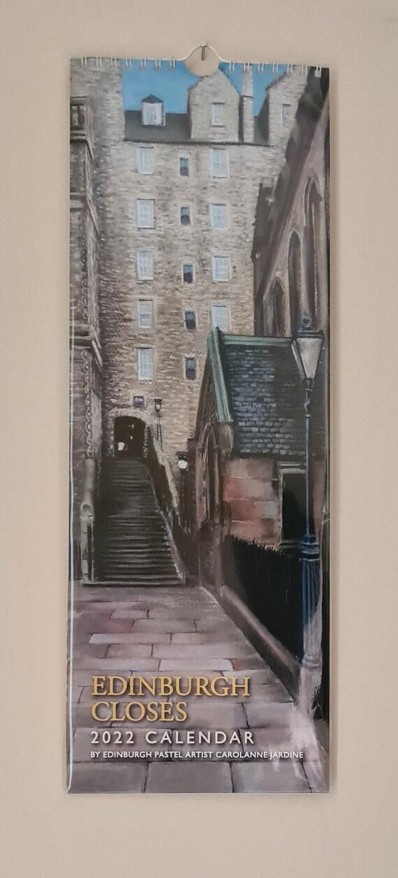 NEW!!! 2022 Edinburgh Closes calendar featuring pastel drawings by Carolanne Jardine
