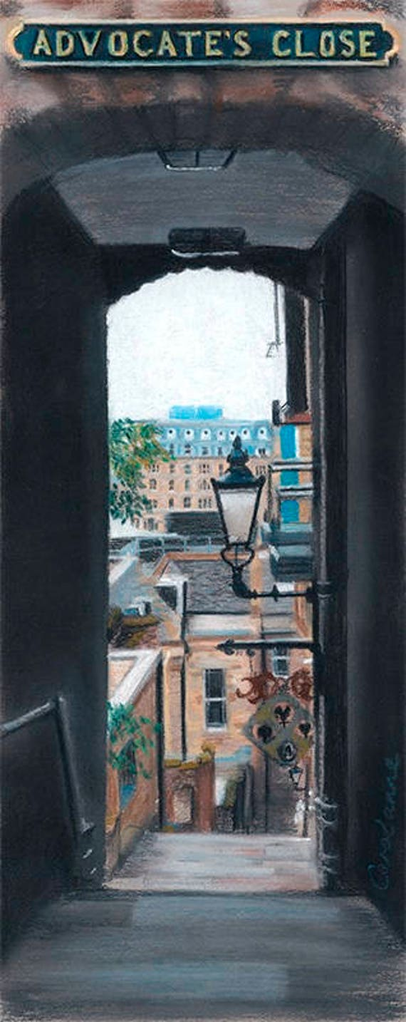 Advocate's Close, Edinburgh giclee print by Carolanne Jardine.  Quality print depicting Advocate's Close in Edinburgh's old town.