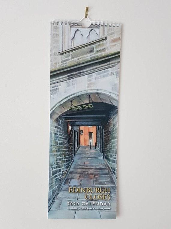 NEW!!! 2020 Edinburgh Closes calendar featuring pastel drawings by Carolanne Jardine