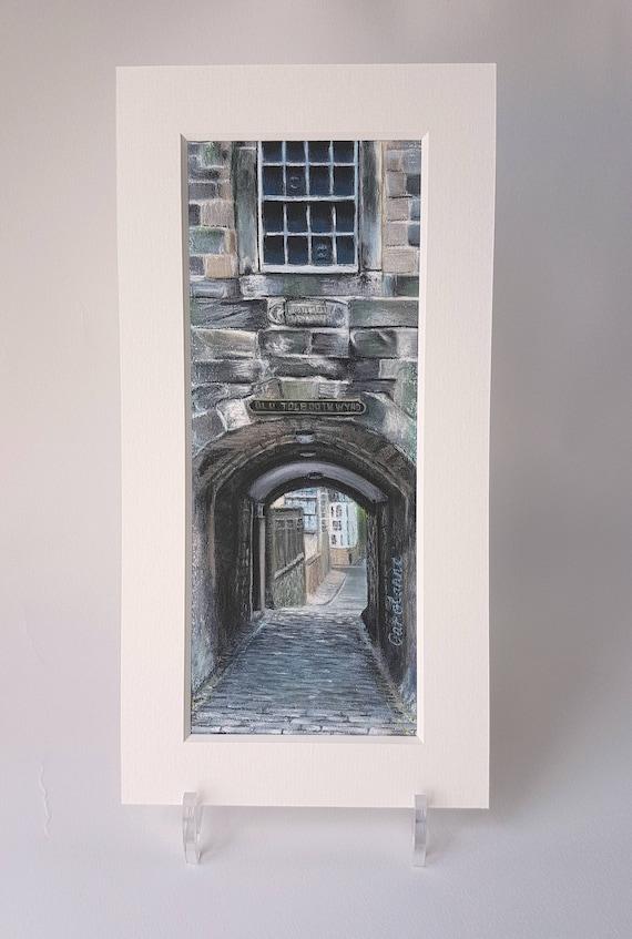 Old Tolbooth Wynd Close, Edinburgh giclee print by Carolanne Jardine.  Quality print depicting Old Tolbooth Wynd in Edinburgh's old town.