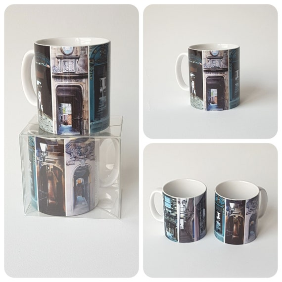 Edinburgh Closes Mug. 4 different designs featuring images of original sketches by pastel artist Carolanne Jardine