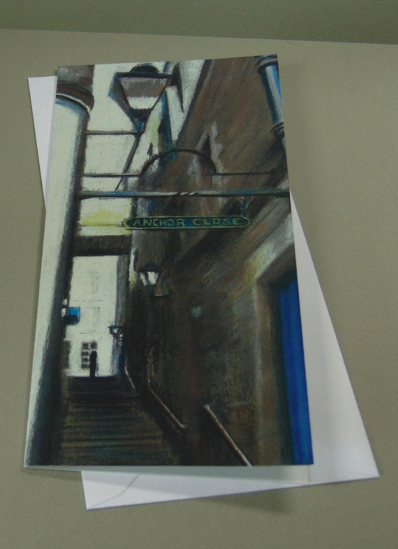 Anchor Close art card by Edinburgh pastel artist Carolanne Jardine.