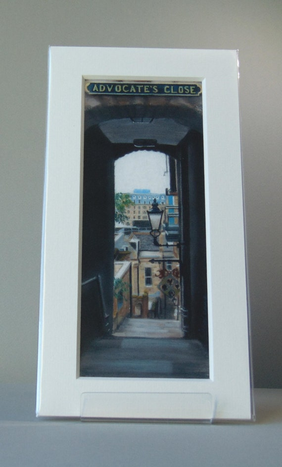 Advocate's Close, Edinburgh large giclee print by Carolanne Jardine.  Quality print depicting Advocate's Close in Edinburgh's old town.