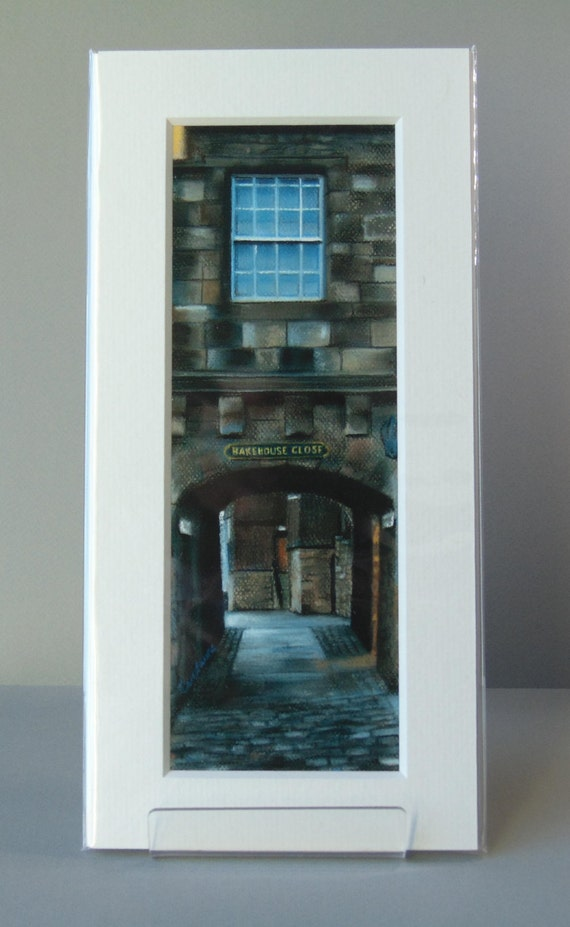 Bakehouse Close, Edinburgh giclee print by Carolanne Jardine.  Quality print depicting Bakehouse Close in Edinburgh's old town.