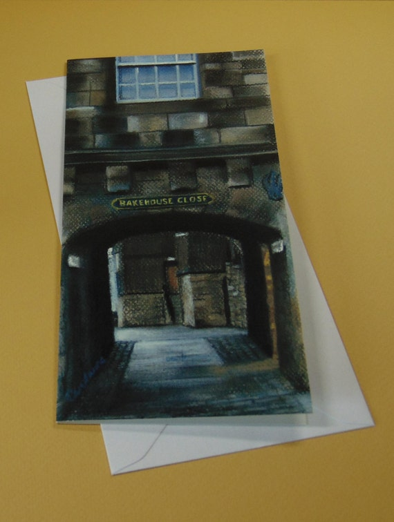 Bakehouse Close art card by Edinburgh pastel artist Carolanne Jardine.