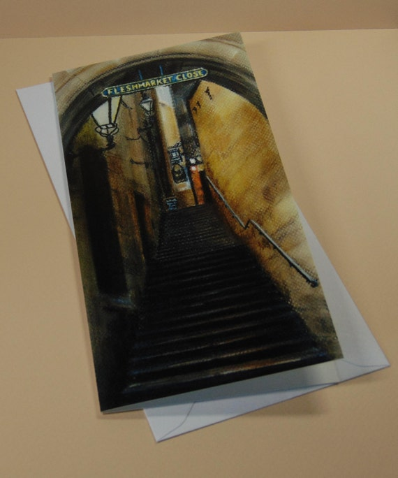 Fleshmarket Close art card by Edinburgh pastel artist Carolanne Jardine.