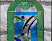 Stained Glass Panel, Stained Glass Sun Catcher, Stained Glass Art, Abstract Design, Abstract Art, 8 quot x 12 quot , Stained Glass Suncatcher,AB146