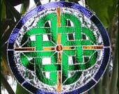 Stained Glass Suncatcher, Irish Design. Celtic Knot Design, Irish Sun Catcher, Irish Gift, 12 quot across - 9590-BL-GR