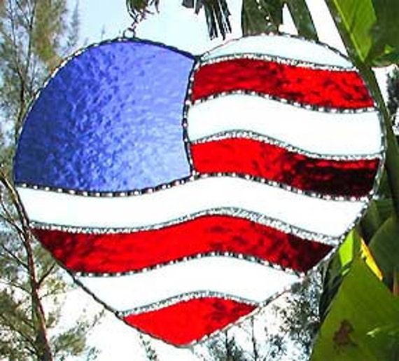 72813bdc740a Stained Glass Suncatcher American Flag Design Glass