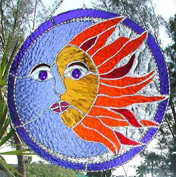 Stained Glass Sun Catcher Sun And Moon Stained Glass