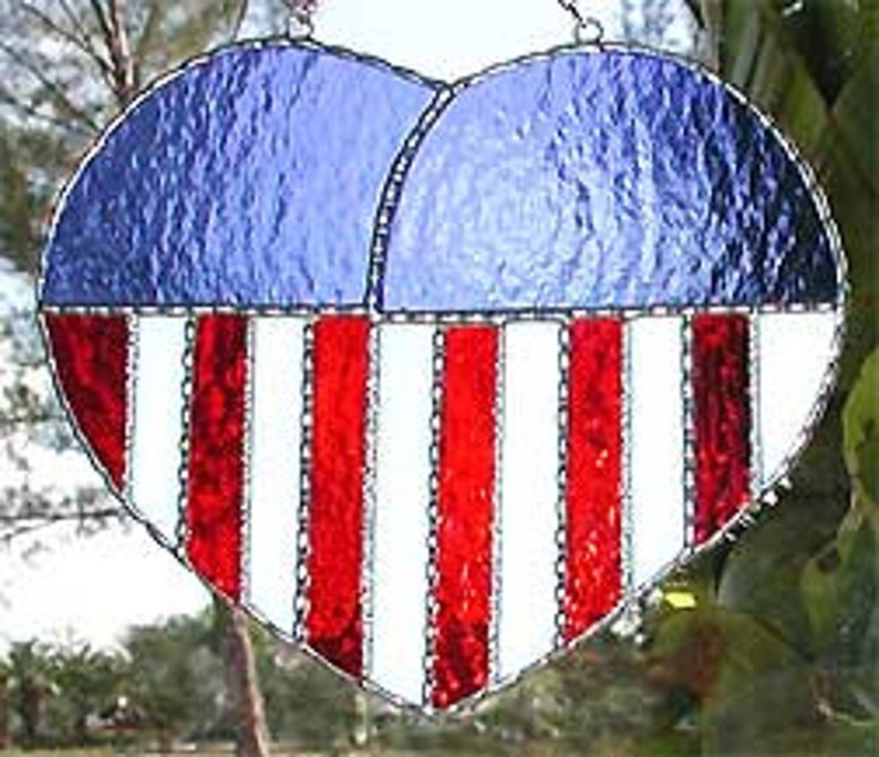 6e9dfb77f14f Stained Glass Suncatcher American Flag Heart Stained Glass