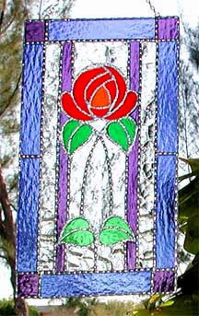 10x14 PURPLE ROSE Floral Stained Art Glass Suncatcher
